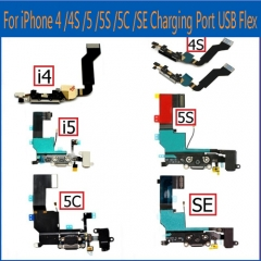 For iPhone 4 4S 5 5S 5C SE USB Charging Port Jack Mic Headphone  Charger Flex Cable