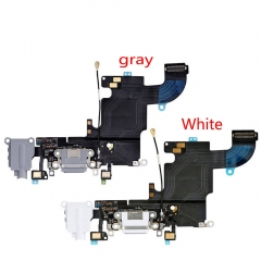 For iPhone 6 4.7 USB Charging Port Jack Mic Headphone Charger Flex Cable White Gray