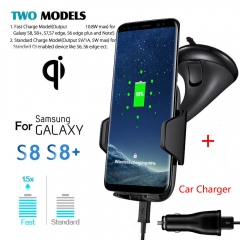 2I N1 Fast QI Wireless Charger Car Holder Mount For Samsung S8 Plus S7 Edge Note 8 iPhone 8 X