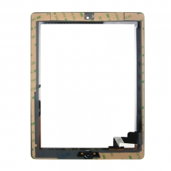 For iPad 2 Screen Touch Digitizer Front Glass With Sticker Home Button