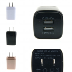 US 2.1A + 1A Dual USB 2-Ports AC Wall Power Charger Adapter For iPad iPhone Samsung