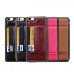 For iPhone 5S 6 6S 7 8 Plus TPU Leather Mount Stand Flip Card Pocket Protective Case Cover