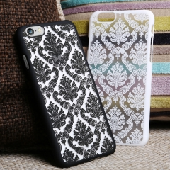 For iPhone 5S 6 6S 7 8 Plus Hard Back Damask Case Cover