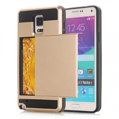 For Samsung Galaxy Note 3 4 5 8 S5 S6 S7 Edge S8 Plus Slim Armor CS Shockproof Slide Card Pocket Wallet Rubber Case