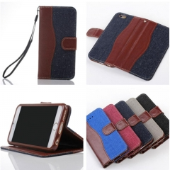 For iPhone 6 6S 7 8 Plus X Denim Skin Cover Card Holder Case