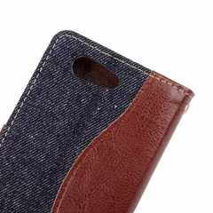 For Sony Xperia Z3 Z4 Z5 Compact Denim Skin Cover Card Holder Case