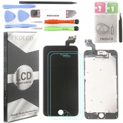 Full Assembly LCD Display Screen Touch Digitizer With Front Camera Ear Speaker Light Sensor +Repair Tools +Protector For iPhone 6 Plus Black