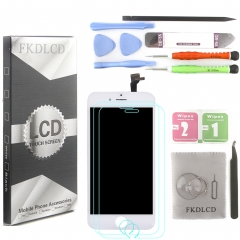 LCD Display Screen Touch Digitizer Ear Mesh Camera Ring Assembly +Repair Tools +Protector For iPhone 6 White