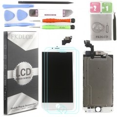Full Assembly LCD Display Screen Touch Digitizer With Front Camera Ear Speaker Light Sensor +Repair Tools +Protector For iPhone 6 Plus White