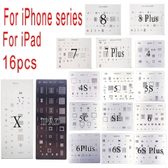 16pcs Full Set IC Chip BGA Reballing Stencil Solder template For iPhone 4 4s 5 5s 5c 6 6 Plus 6S 6S 7 8 PLUS SE iPad