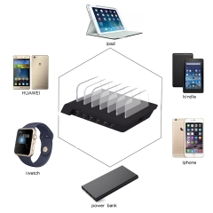 Smart 6 Port Multi-USB Charging Dock Station Desktop Charger Holder